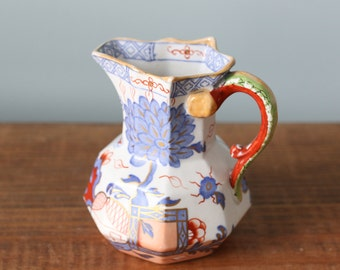 Antique Handpainted Mason's Patent Ironstone China Milk Pitcher with Serpent Dragon Handle
