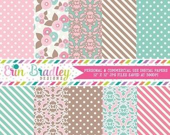 80% OFF SALE Pink Brown & Blue Digital Paper Pack Polka Dots Damask Flowers and Striped Patterns Digital Paper Set Instant Download