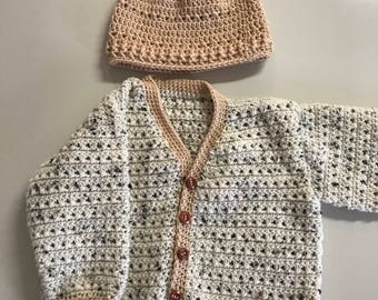 cardigan and beanie