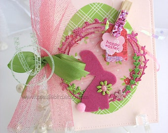 Shabby Chic Bunny Rabbit Card~arty tag shape card~baby shower card~velveteen rabbit~Easter Bunny~pink~green~blue~yellow~lavender~coral~kraft