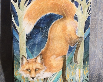 Red Fox giclée print with gold detail