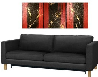 Triptych Original Canvas Painting Set Modern Contemporary Design Minimalist Masculine Art Made To Order Abstract