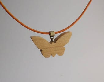 cherry wood and leather Butterfly pendant with orange