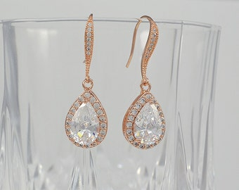 Bridal Cubic Zirconia Tear Drop Earrings, Rose Gold, Silver, Yellow Gold, Ear wires, Aria Earrings - Will ship in 1-3 Business Days