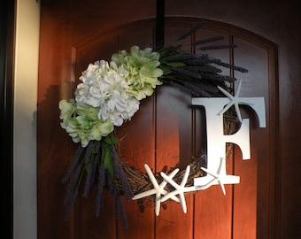 Summer Wreaths, Spring Door Wreath, Spring Wreaths, Door Decor, Summer Door Decor, Beach Wreath, Purple Wreath