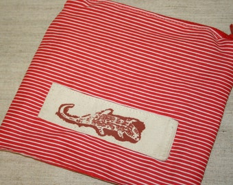 Travel Organizer,Cotton Pouch, Cosmetics Pouch, Red Pouch,Handmade  Pouch, Handmade  Zipped Pouch