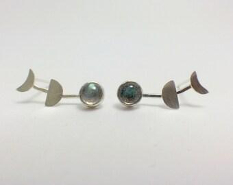 Moon Phases Earrings in Sterling Silver, Moon Earrings, Crescent Moon, Space Jewelry, Silver Moon Jewelry, Stone Earrings, Gemstone Earrings