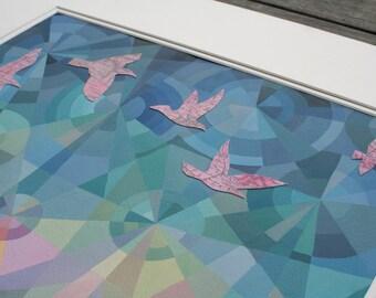Emmêlés inexploré II originale acrylique et techniques mixtes peinture, art géométrique coloré, oiseaux vintage carte, faisceaux lumineux, ciel du soir