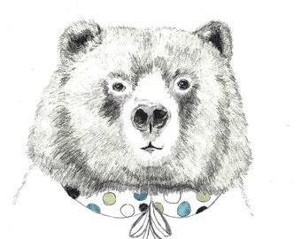 Bear Art, Bear Drawing - Mrs. Bear - Bear Illustration - Bear with Peter Pan Collar