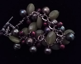 Sterling Grapes and Pearls Bracelet