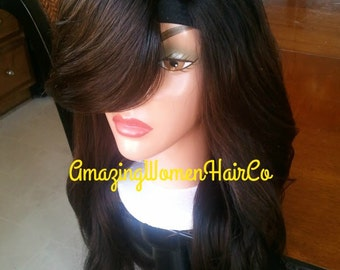 """Sale sale! Hot new Brazilian Human hair u part wig unit swoop bang soft ombre color custom made body wave hair texture lengths @ 16"""" 18"""" 20"""""""