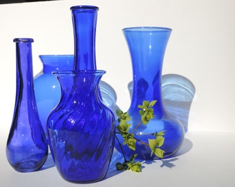 Vintage Cobalt Glass Vase Set of 5 Indiana featuring Illusions, and unknown Old Cobalt Glass Collection