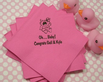 Baby shower napkins personalized baby shower napkins Set of 50 napkins personalized baby shower napkins beverage and luncheon size