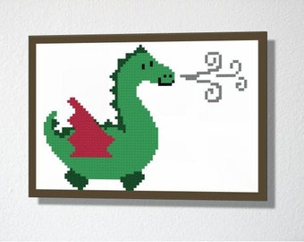 Counted Cross stitch Pattern PDF. Instant download. Cute Dragon. Includes easy beginner instructions.