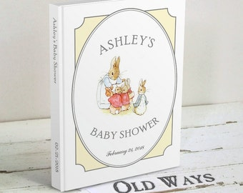 Beatrix Potter Baby Shower Guest Book - Gender Neutral Personalized Guestbook for Baby Shower, Baby Sprinkle or Sip and See