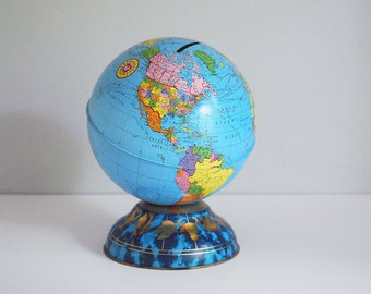 Ohio Art Globe, Zodiac Globe Bank, Tin World Globe, 1970s Tin Toy, Desktop Accessories, Man Cave Decor, Vintage World Map, Blue Oceans
