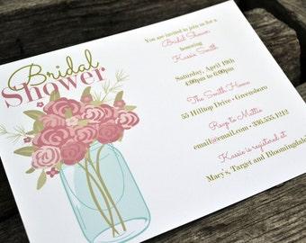 Mason Jar Bridal Shower Invitation / Personalized Bridal Shower Invite / Baby Shower Invite / Mason Jar Party Invitation / Mason Jar Flowers