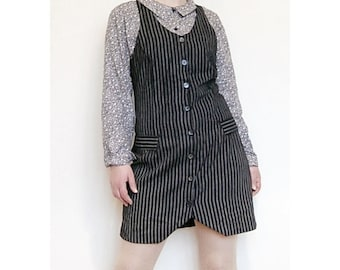Vintage 90s tight suspender dress. Pinstriped black and gray. Faux leather back. Size S/small 6/8 36/38