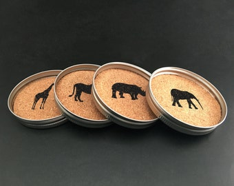Coasters for Kenya – African Animals – Elephant – Giraffe – Lion – Rhinoceros