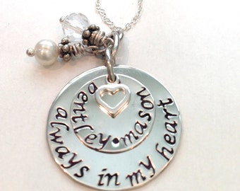 Always in my Heart Hand Stamped Necklace-Memorial/Remembrance Necklace-Memorial Jewelry-Infant Loss-Child Loss