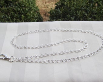 Sterling Silver Chain ID Badge Lanyard Small Links Chain Lanyard