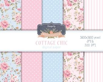 SALE Cottage Chic digital paper, floral pink and blue paper, floral paper, shabby chic paper, floral blue paper, polka dots