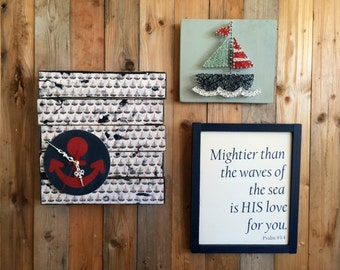 Nautical Boys Bedroom Decor Set - Nautical Decor - Sailing Decor - Nautical Nursery - Nautical Clock - Sailboat String Art - Baby Wall Decor