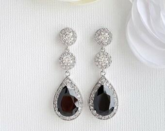 Black Earrings Long Bridal Earrings Cubic Zirconia Drop Black Crystal Earrings Halo Bridal Black Earrings Black Bridal Jewelry, Zoe