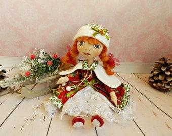 Textile doll Christmas doll Handmade doll Fairytale gift Fabric doll Red doll Soft doll Cloth doll Rag doll Interior  doll Christmas decor