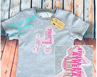 Personalised Poodle Dog Printed Name Kids & Baby Birthday Gift T-shirt, One-piece, Romper, Bodysuit, Onesie, Custom Made