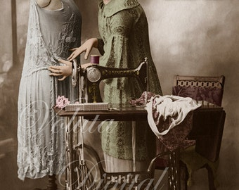 Seamstress with mannequin. Digital download  -  Edwardian Vintage Postcard.