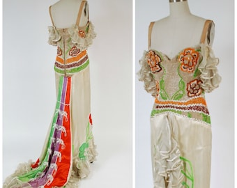 Vintage 1960s Burlesque Costume - RARE Mme. Berthé Burlesque Showgirl Gown With Insane Beaded Bodice, and Split Skirt with Ruffled Train