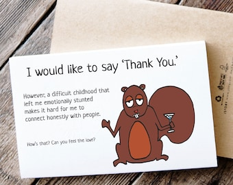 Funny Printable Thank You Card - Squirrel Grapples with Emotions