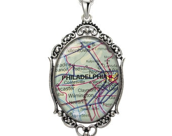 Map Pendant Philadelphia PA Oval Filigree Pendant Pennsylvania Necklace Art Pendant Graphic Pendant