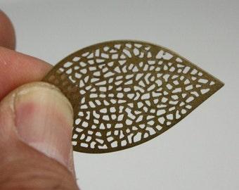 20 pcs of antiqued Brass finished filigree leaf focal 36X24mm