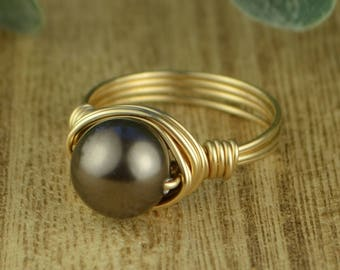 Sale! Chocolate Swarovski Pearl Wrapped Ring- Sterling Silver, Yellow or Rose Gold Filled Wire- Any Size 4 5 6 7 8 9 10 11 12 13 14