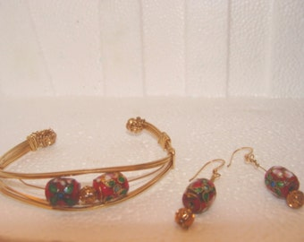 Gold Wire Wrapped Red Cloisonne Cuff Bracelet and Earrings Set