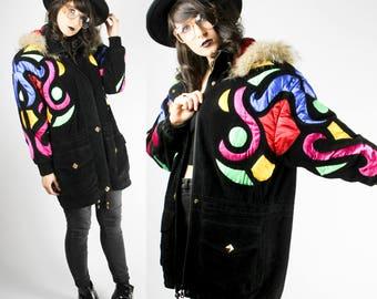 Vintage Parka Black Colorful Suede Leather Neon Geometric Pattern 36 S Alternative Hipster Grunge Punk Hippie Boho Goth Jacket Coat