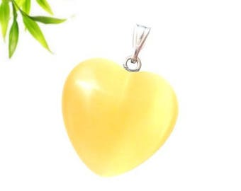 Silver plated - citrine heart pendant