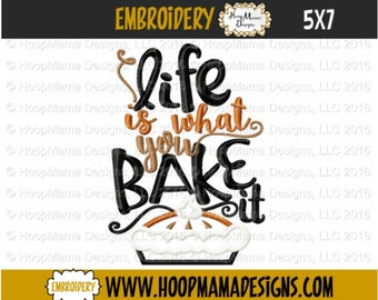 kitchen towel embroidery design life is what you bake it 4x4 5x7 6x10 - Bakers Gonna Bake Kitchen Redwork Embroidery Designs