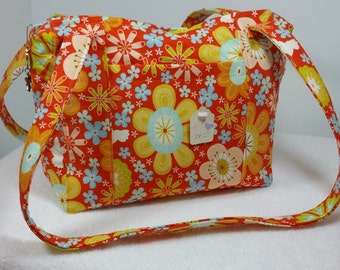 Orange Yellow Quilted Purse Quilted Bag Quilted Tote Handbag Homemade Purses Orange Floral Multicolor Heart Silver Purse Pull Fabric Handbag