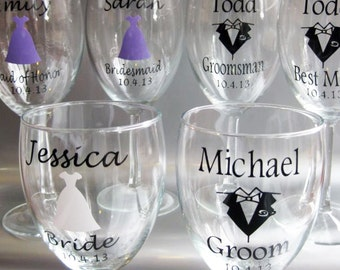 SINGLE DIY Personalized Wine Glass Wedding Decals, Bride, Groom, Groomsman, Bridesmaid, Maid of Honor, Best Man, Glasses NOT Included