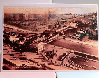 Brighton, West Pier, i360, Promenade, Old Fishing Market,Victorian, Vintage, Beach, Sea, Postcards, Stamps, Sussex, England, Greeting Card