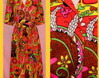 60s/70s psychedelic hippie mod flower power two piece button down shirt and skirt set