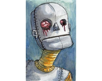 Original Watercolor Illustration - robot Art by Ela Steel - blue teal strange lowbrow art