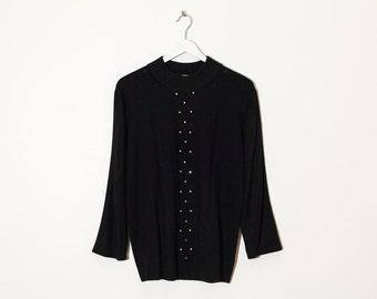 on sale - black mock neck knit sweater / 3/4 sleeve rhinestones jersey pullover / size M