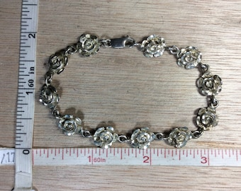 "Vintage 7.75"" 925 Sterling Silver 11.6g Diamond Cut Roses Bracelet Used"