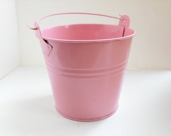 Pink Metal Bucket - Miniature pink pail, pink party favor pail, pink birthday party decor, pink wedding, pink doll accessory, baby shower