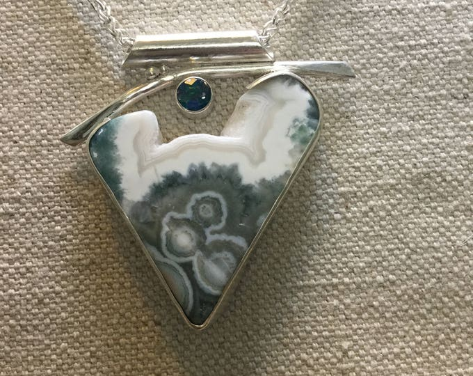 Ocean Jasper Druzy with Rainbow Topaz necklace