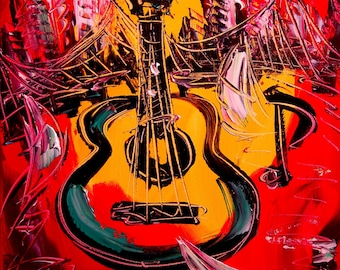 GUITAR  Modern Abstract Gallery Artist Contemporary Wall Decor Original Oil Painting PRINT